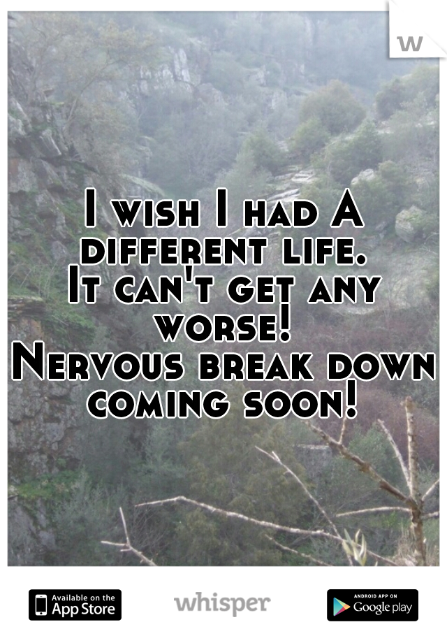 I wish I had A different life.   It can't get any worse!   Nervous break down coming soon!