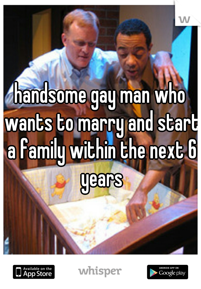 handsome gay man who wants to marry and start a family within the next 6 years