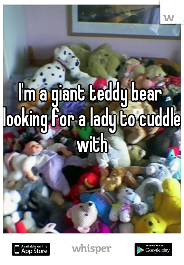 I'm a giant teddy bear looking for a lady to cuddle with