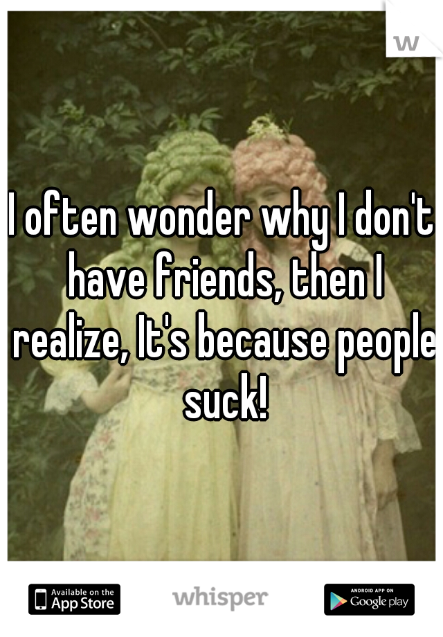 I often wonder why I don't have friends, then I realize, It's because people suck!