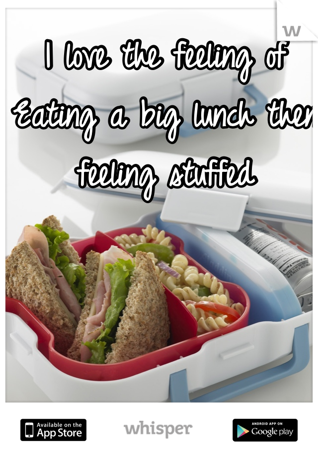 I love the feeling of Eating a big lunch then feeling stuffed