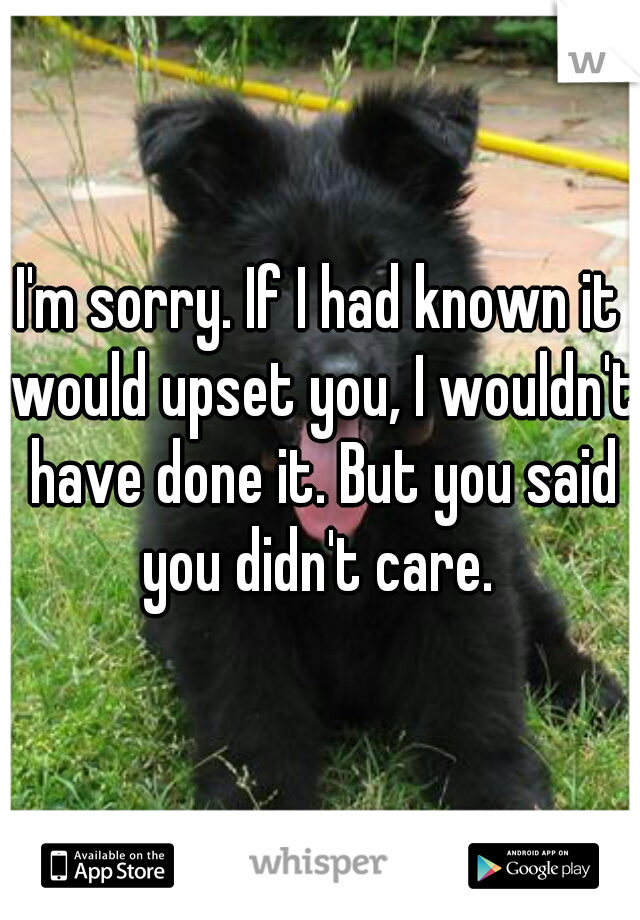 I'm sorry. If I had known it would upset you, I wouldn't have done it. But you said you didn't care.