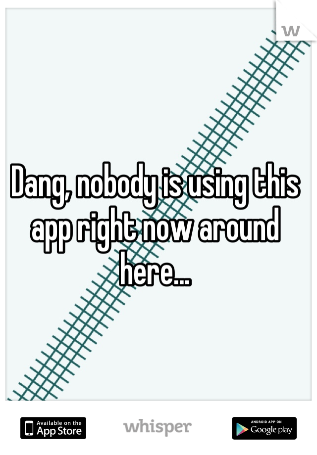 Dang, nobody is using this app right now around here...