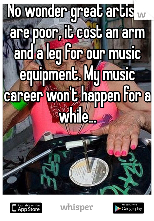 No wonder great artists are poor, it cost an arm and a leg for our music equipment. My music career won't happen for a while...