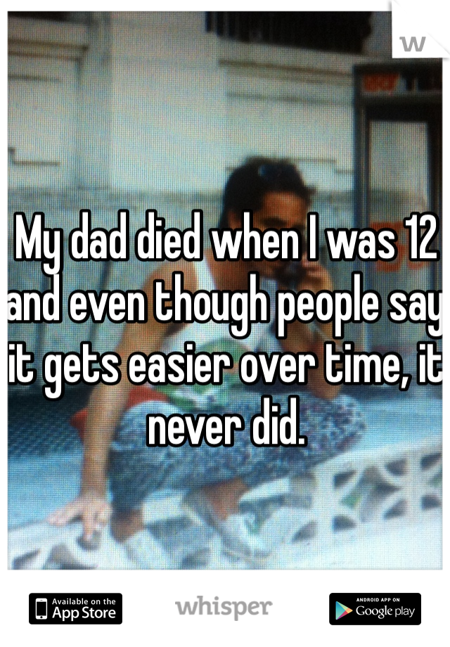 My dad died when I was 12 and even though people say it gets easier over time, it never did.