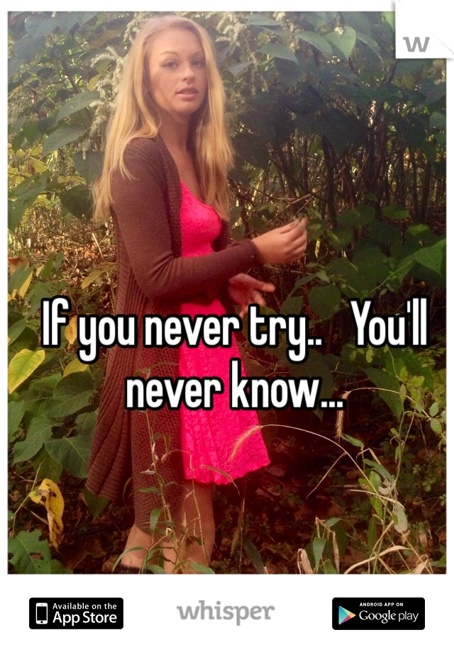 If you never try..   You'll never know...