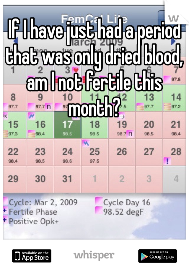 If I have just had a period that was only dried blood, am I not fertile this month?