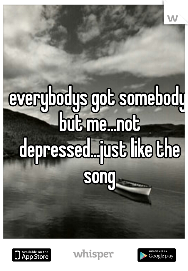 everybodys got somebody but me...not depressed...just like the song