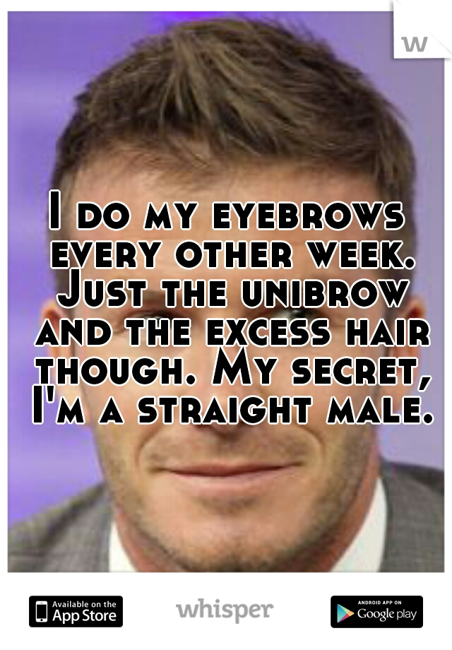 I do my eyebrows every other week. Just the unibrow and the excess hair though. My secret, I'm a straight male.