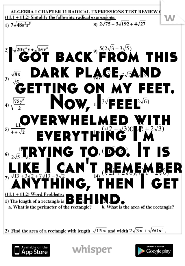 I got back from this dark place, and getting on my feet. Now, I feel overwhelmed with everything I'm trying to do. It is like I can't remember anything, then I get behind.