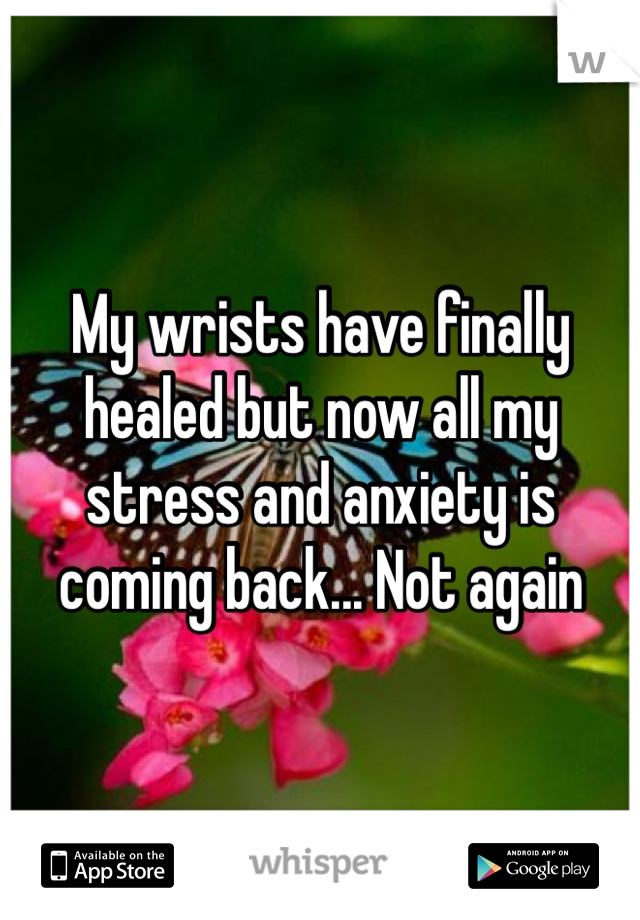 My wrists have finally healed but now all my stress and anxiety is coming back... Not again