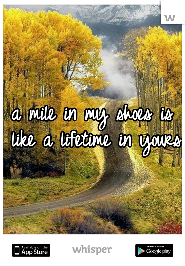 a mile in my shoes is like a lifetime in yours