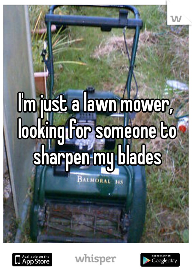 I'm just a lawn mower, looking for someone to sharpen my blades
