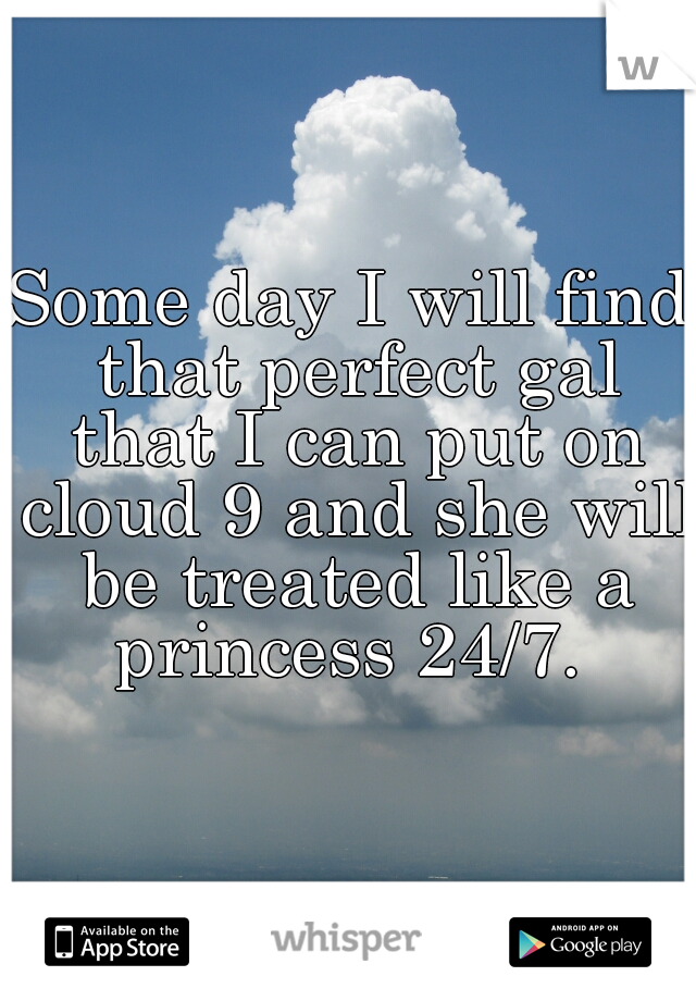 Some day I will find that perfect gal that I can put on cloud 9 and she will be treated like a princess 24/7.