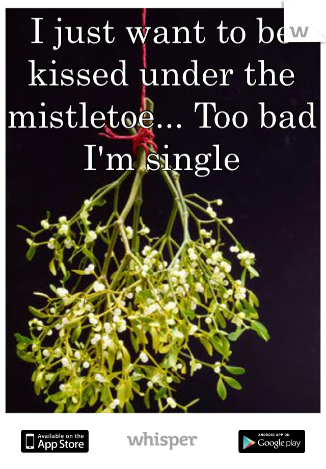 I just want to be kissed under the mistletoe... Too bad I'm single