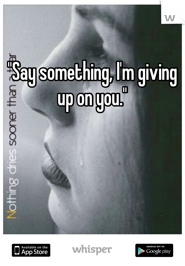 """Say something, I'm giving up on you."""