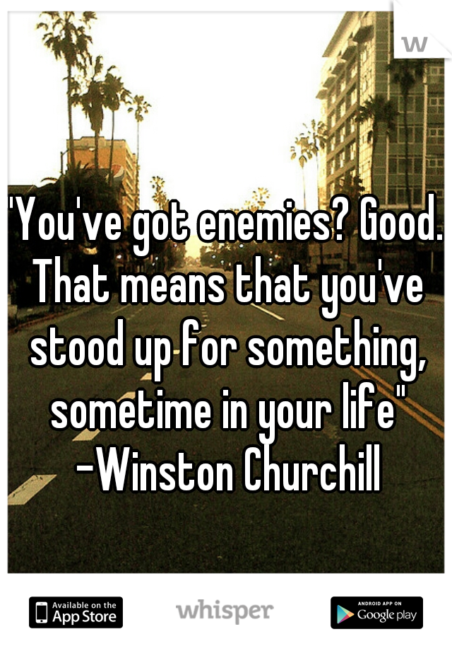 """You've got enemies? Good. That means that you've stood up for something, sometime in your life"" -Winston Churchill"