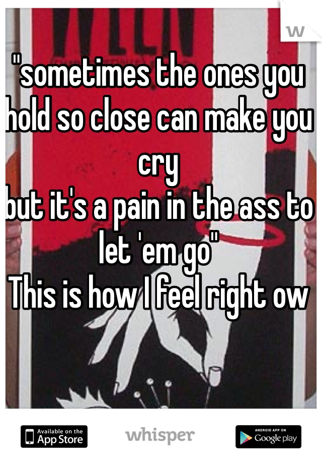 """sometimes the ones you hold so close can make you cry but it's a pain in the ass to let 'em go"" This is how I feel right ow"