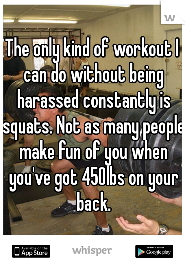 The only kind of workout I can do without being harassed constantly is squats. Not as many people make fun of you when you've got 450lbs on your back.