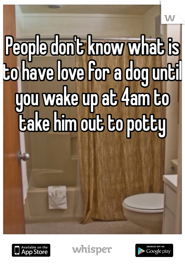 People don't know what is to have love for a dog until you wake up at 4am to take him out to potty