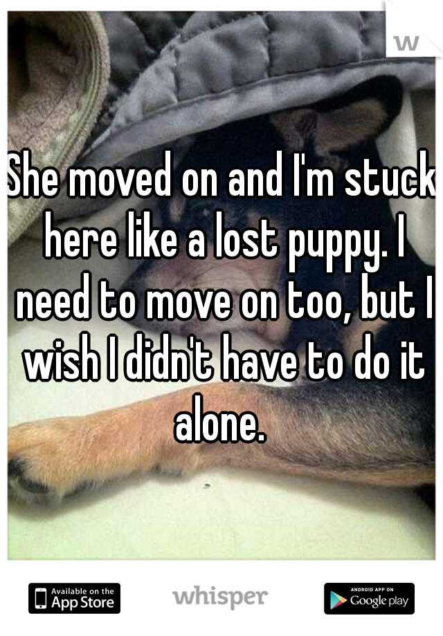 She moved on and I'm stuck here like a lost puppy. I need to move on too, but I wish I didn't have to do it alone.
