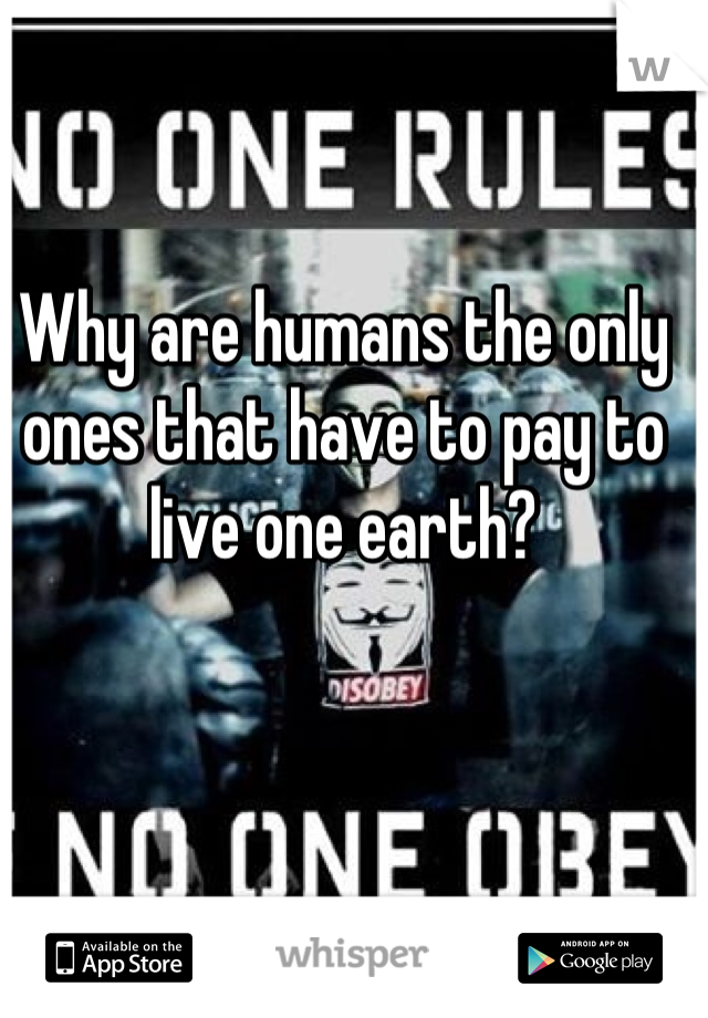 Why are humans the only ones that have to pay to live one earth?