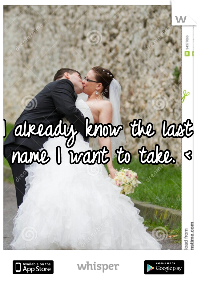I already know the last name I want to take. <3