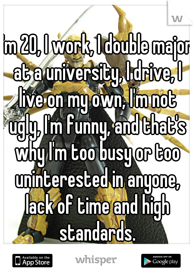 I'm 20, I work, I double major at a university, I drive, I live on my own, I'm not ugly, I'm funny, and that's why I'm too busy or too uninterested in anyone, lack of time and high standards.