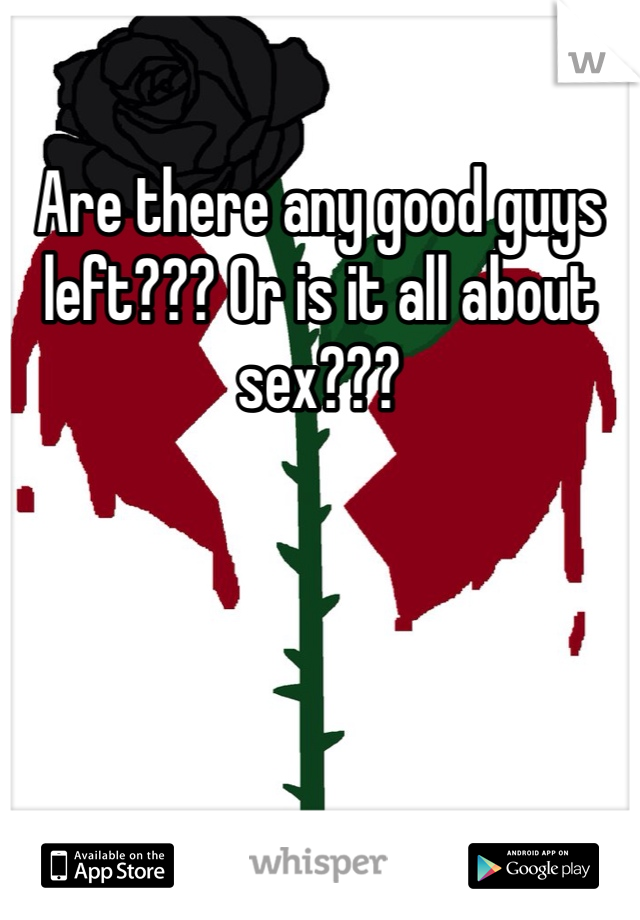 Are there any good guys left??? Or is it all about sex???