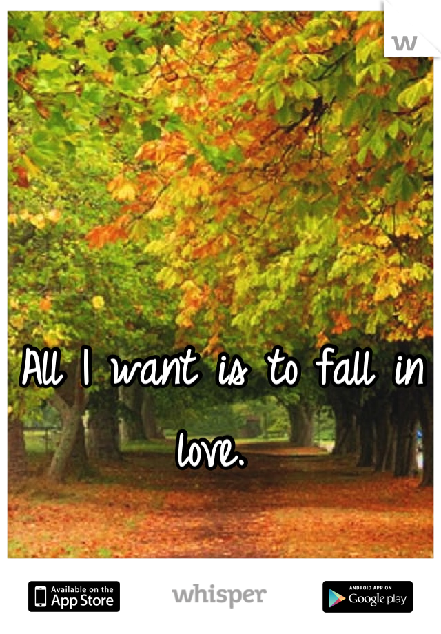 All I want is to fall in love.