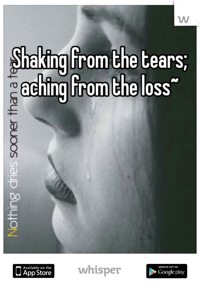 Shaking from the tears; aching from the loss~