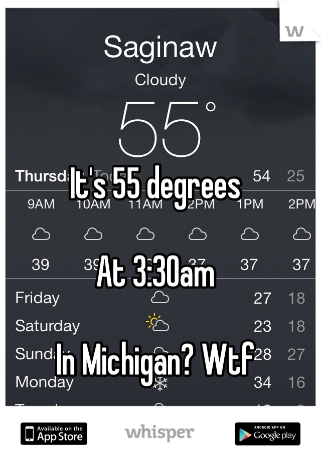 It's 55 degrees   At 3:30am  In Michigan? Wtf