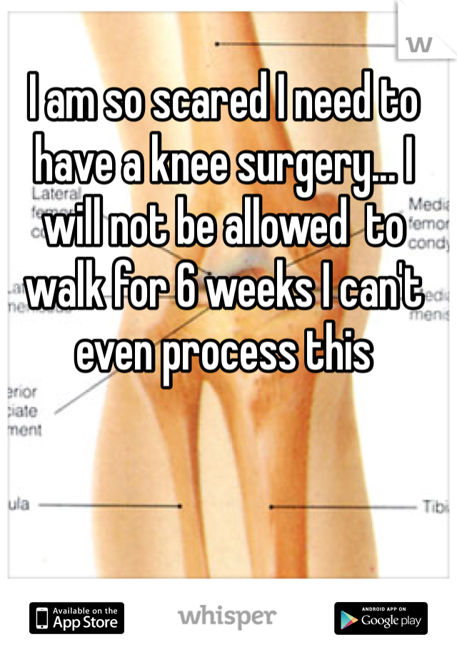 I am so scared I need to have a knee surgery... I will not be allowed  to walk for 6 weeks I can't even process this