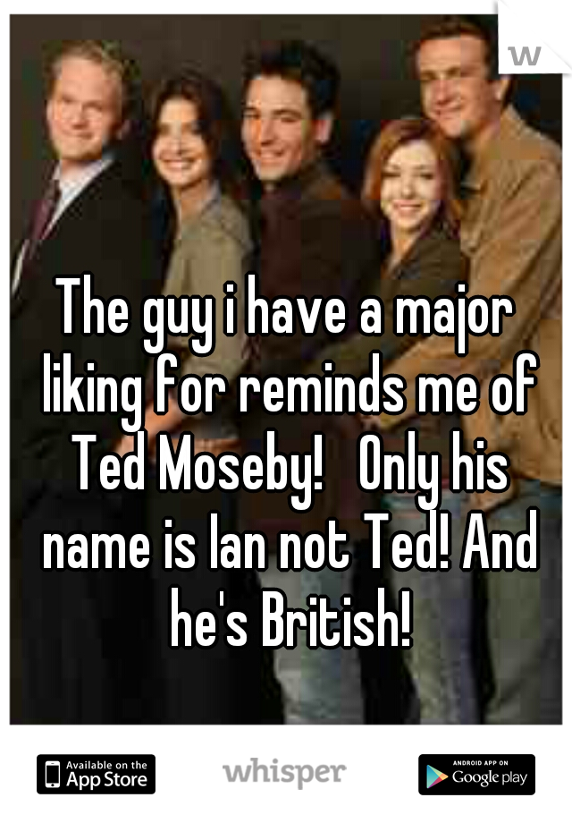 The guy i have a major liking for reminds me of Ted Moseby!   Only his name is Ian not Ted! And he's British!