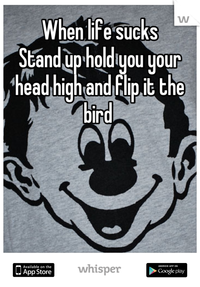 When life sucks  Stand up hold you your head high and flip it the bird