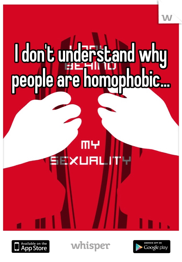 I don't understand why people are homophobic...