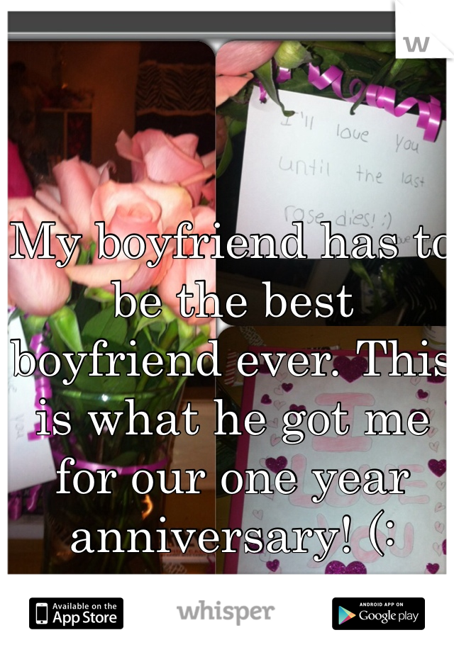 My boyfriend has to be the best boyfriend ever. This is what he got me for our one year anniversary! (: