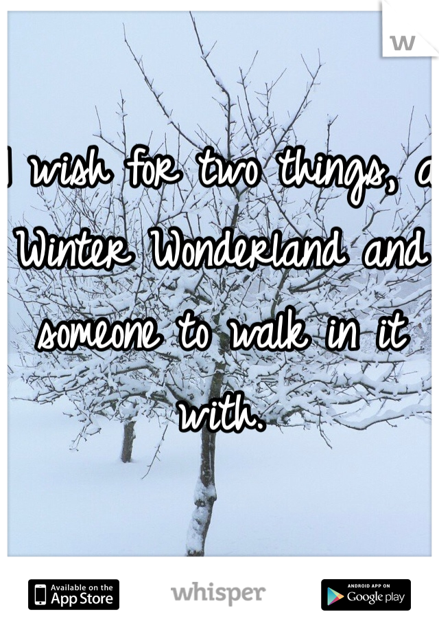 I wish for two things, a Winter Wonderland and someone to walk in it with.