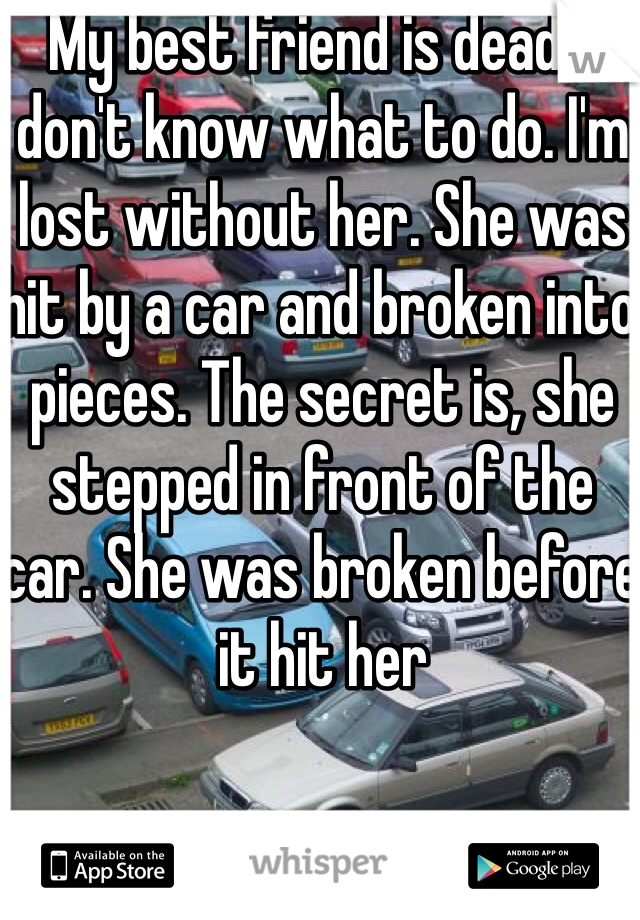 My best friend is dead. I don't know what to do. I'm lost without her. She was hit by a car and broken into pieces. The secret is, she stepped in front of the car. She was broken before it hit her