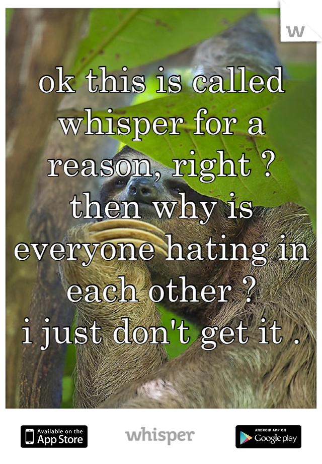 ok this is called whisper for a reason, right ?  then why is everyone hating in each other ?  i just don't get it .