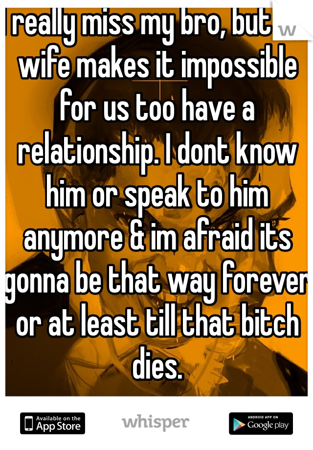 I really miss my bro, but his wife makes it impossible for us too have a relationship. I dont know him or speak to him anymore & im afraid its gonna be that way forever or at least till that bitch dies.