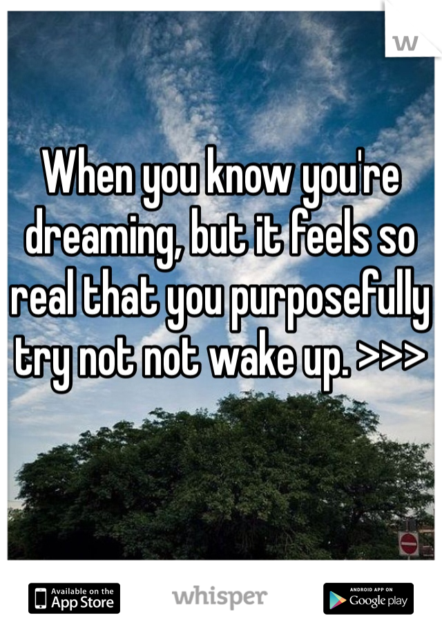 When you know you're dreaming, but it feels so real that you purposefully try not not wake up. >>>