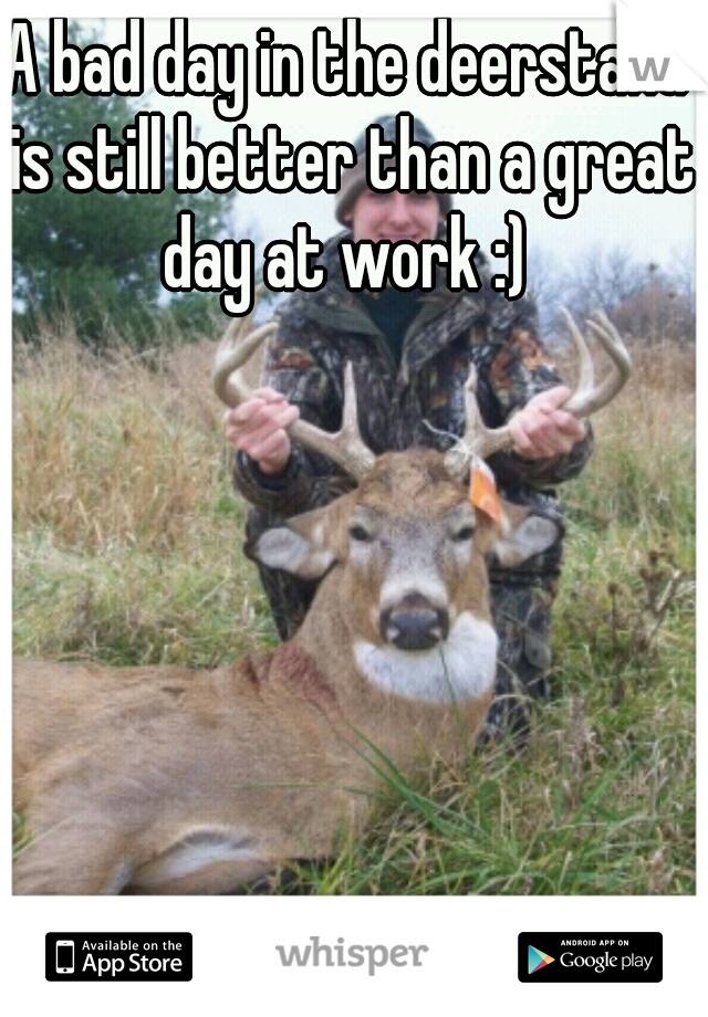 A bad day in the deerstand is still better than a great day at work :)