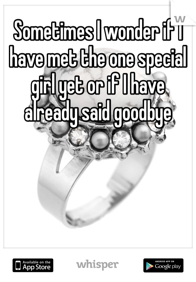 Sometimes I wonder if I have met the one special girl yet or if I have already said goodbye