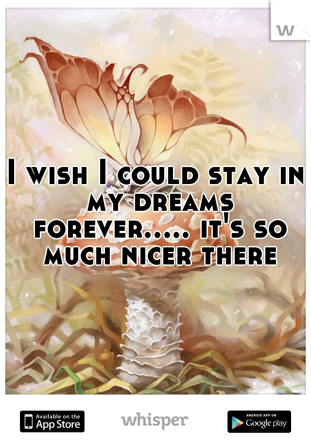 I wish I could stay in my dreams forever..... it's so much nicer there