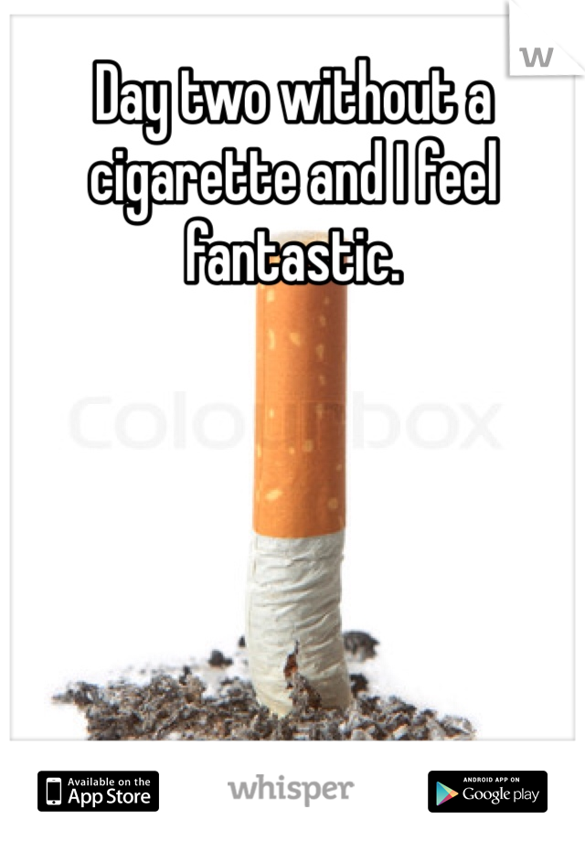 Day two without a cigarette and I feel fantastic.