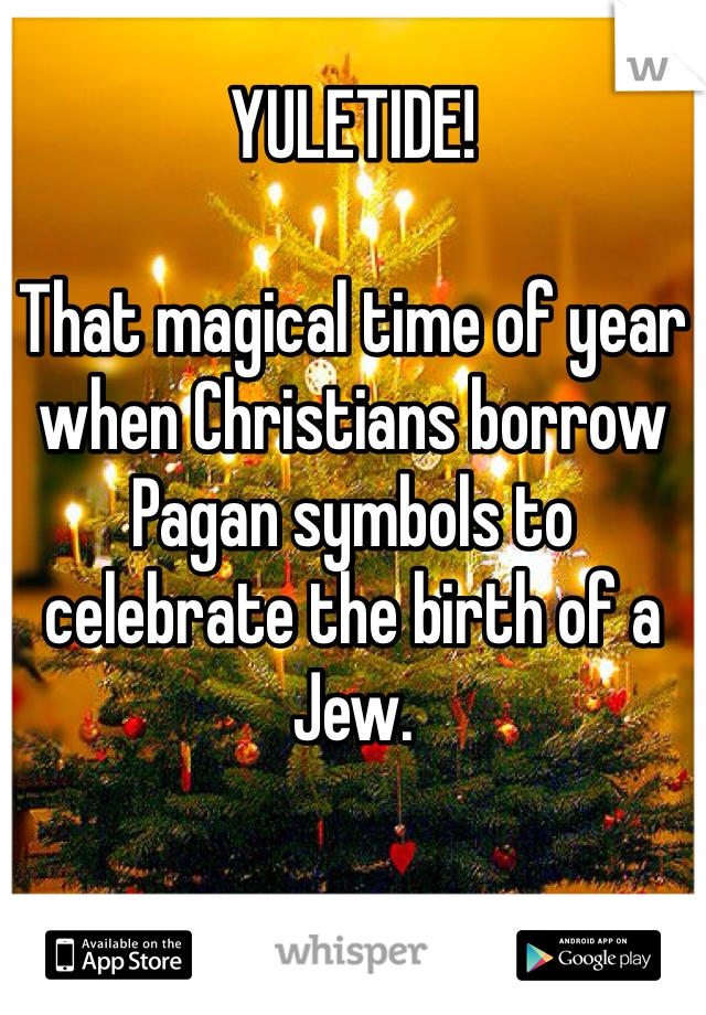 YULETIDE!  That magical time of year when Christians borrow Pagan symbols to celebrate the birth of a Jew.
