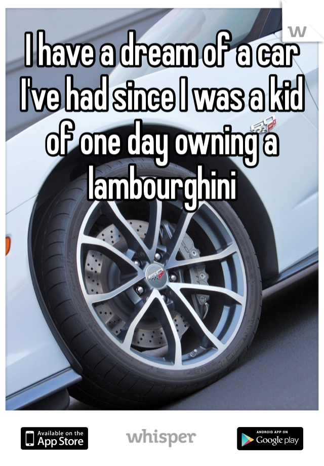 I have a dream of a car I've had since I was a kid of one day owning a lambourghini