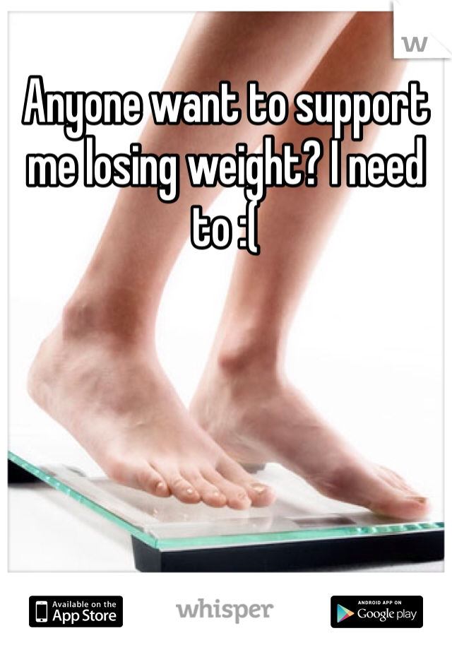 Anyone want to support me losing weight? I need to :(