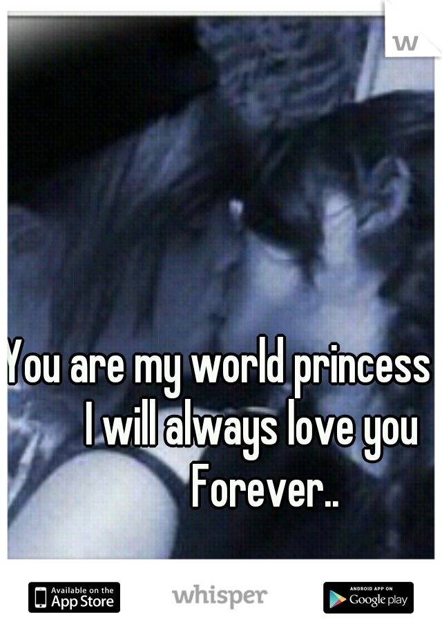You are my world princess         I will always love you            Forever..